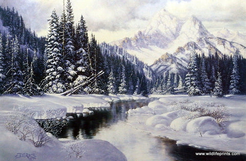 Art Print of a Winter Mountain Scene