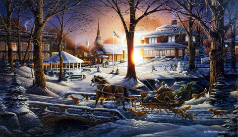 Terry Redlin Christmas Holiday Print RACING HOME