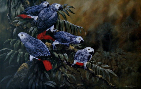 Gamini Ratnavira Painting the Town Red Parrot