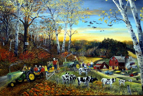 "Ray Mertes ""Hay Ride"" Original on Canvas Art"