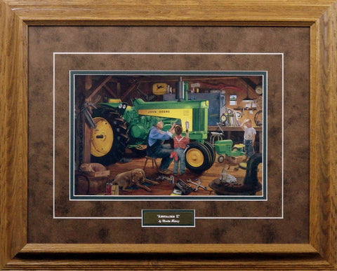 Framed picture of Charles Freitag John Deere Tractor RESTORATION II
