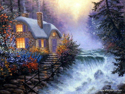Art Print with Waterfall and Victorian Cottage