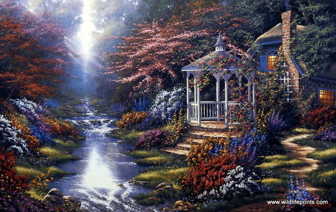 Derk Hansen art print of gazebo in floral garden