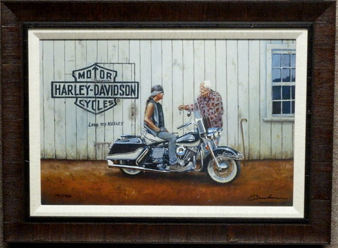 Dave Barnhouse She's All Yours Harley Davidson S/N Canvas-Framed