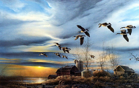 Terry Redlin Canadian Geese print SILENT SUNSET