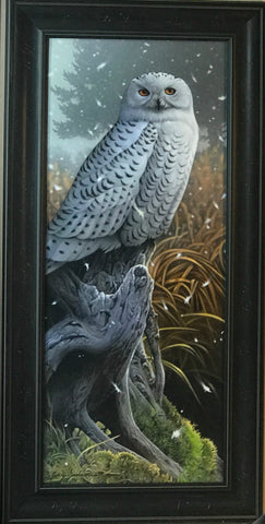 Jerry Gadamus Snowy Rapture S/N Owl Art Print-Framed