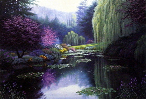 Charles White Garden Picture with lily pads and weeping willow trees