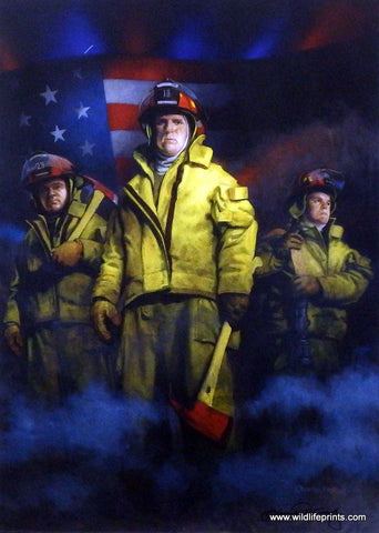 Patriotic Picture of firefighters by Charles Freitag