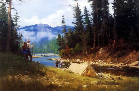 Brett Smith Mountain Camping Print with Elk