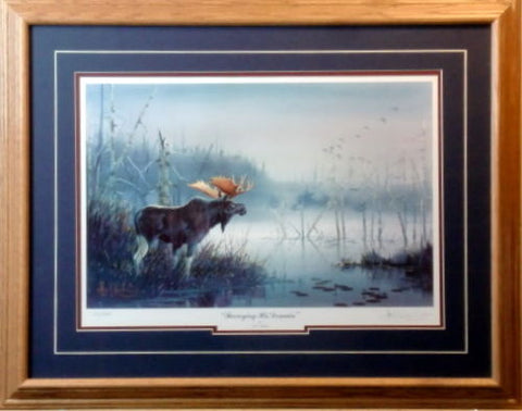 Les Kouba Surveying His Domain Moose S/N art print-Framed