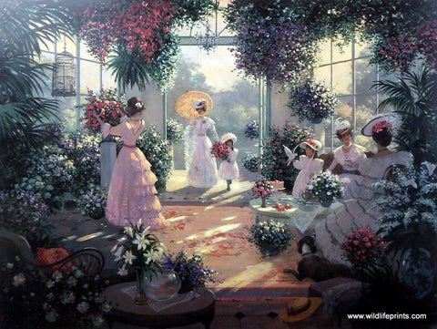 Christa Kieffer Victorian Picture Ladies taking tea in conservatory