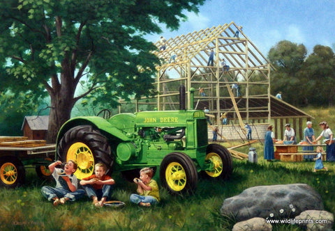 Old-fashioned barn raising with John Deere tractor picture