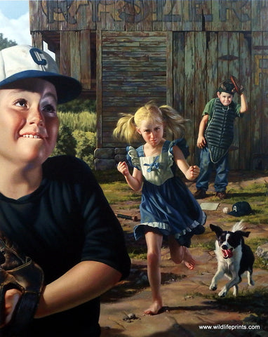 Bob Byerley Children's Print Playing Baseball