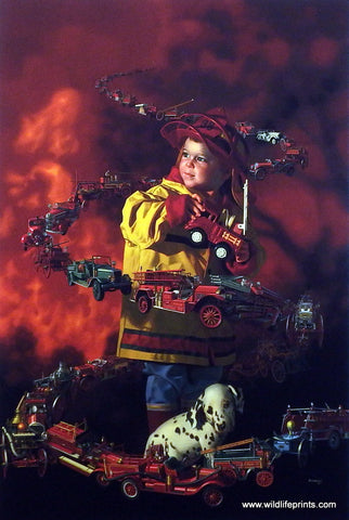 Bob Byerley Children's Print Playing Firefighter with Dalamatian