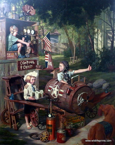 Bob Byerley Children's Print Playing Airplane Pilot