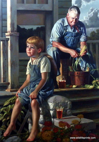 Bob Byerley Children's Print Boy with Grandpa