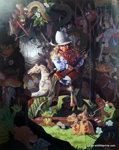 Bob Byerley Children's Print playing cowgirls