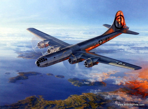 Don Kloetzke World War II print Dropping Atomic bomb over Japan