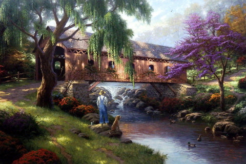 "Thomas Kinkade The Old Fishing Hole - 27""x18"" Artist Proof"