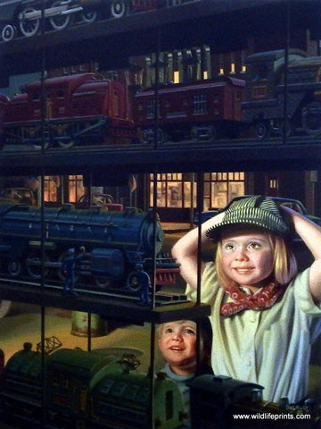 Bob Byerley Children's Print playing trains