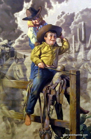 Bob Byerley Children's Print playing cowboys chasing bad guys