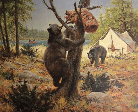 Harold Lyons The Professionals Bear in Camp S/N Art Print