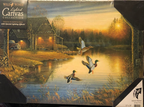 Sam Timm Autumn Retreat Cabin Duck Lighted Canvas Art Print