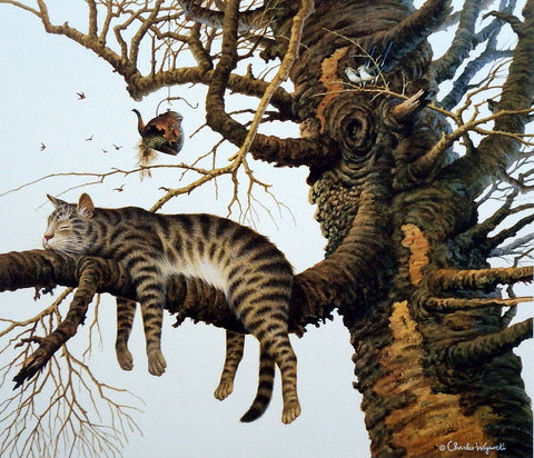 Charles Wysocki Tired Cat in Tree Picture