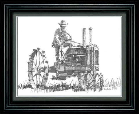 Terry Redlin Tractor Pencil Sketch-Framed