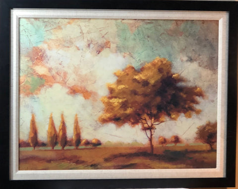Tuscan Afternoon I Fall Colors Tree Art Print-Framed