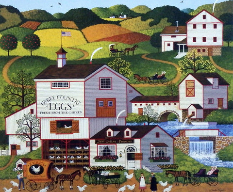 Charles Wysocki Primitive Americana Picture Chicken Egg Farm