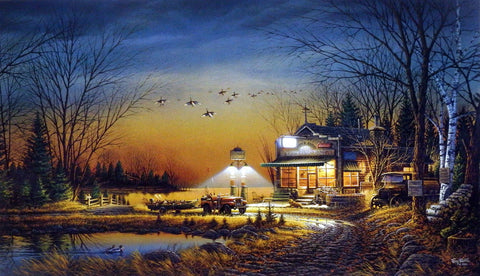 Terry Redlin Hunting and Bait Shop Painting WELCOME TO PARADISE