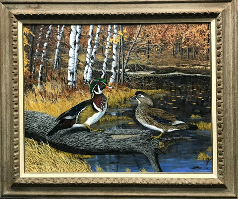 Charles Whitson Wood Ducks Original Oil Art Print