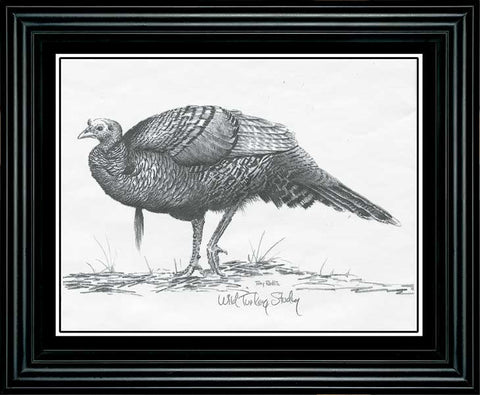 "Terry Redlin ""Turkey"" Pencil Sketch-Framed"