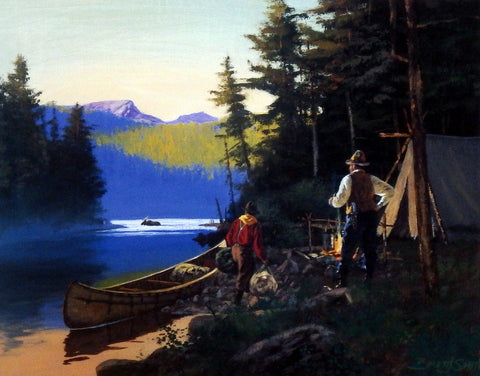 Brett Smith Vintage Camping Canoeing Fishing Print