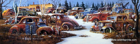 Dale Klee Old Cars Salvage Picture WINTER JUNKYARD