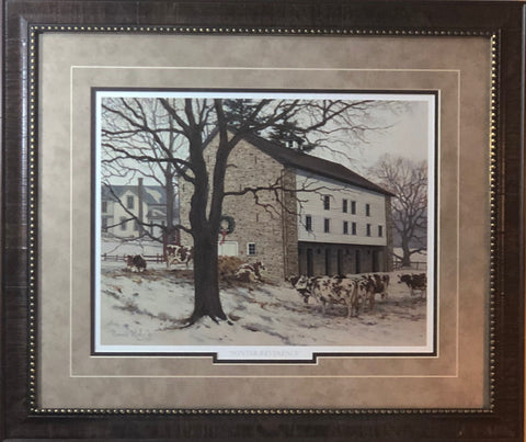 Bonnie Mohr Winter Reverence Country farm Art Print-Framed