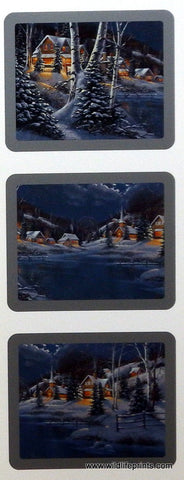 Derk Hansen three prints of winter mountain village scenes