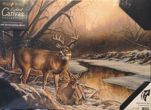 Rosemary Millette Winter Retreat Deer Lighted Wrapped Canvas 18 x 13