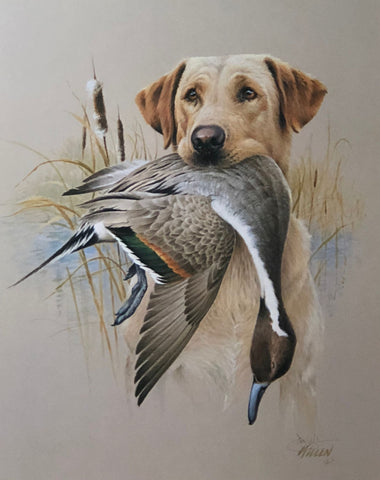 James Killen Yellow Labrador Duck Hunting Art Print