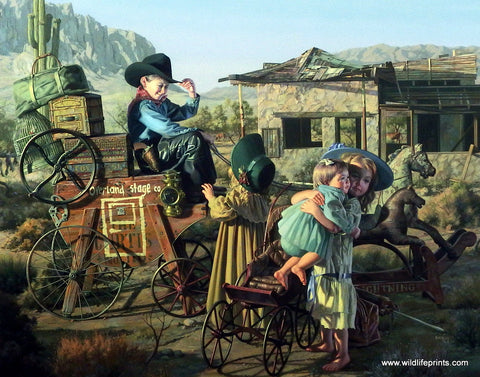 Bob Byerley Children's Print riding stagecoach