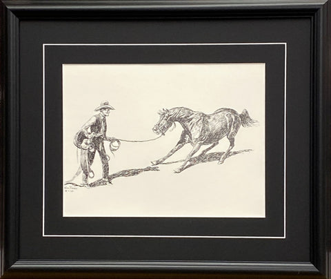 Willl James Cowboy Breaking Wild Horse Black and White Art Print-Framed 20 x 17