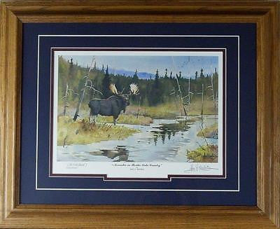 Les Kouba November in Border Lakes Country Moose AP Print-Framed 21 x 17