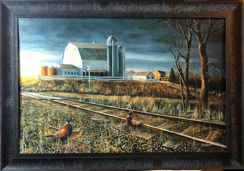 Jim Hansel At the Crossing Pheasant Farm Art Print Framed 33.5 x 23.5