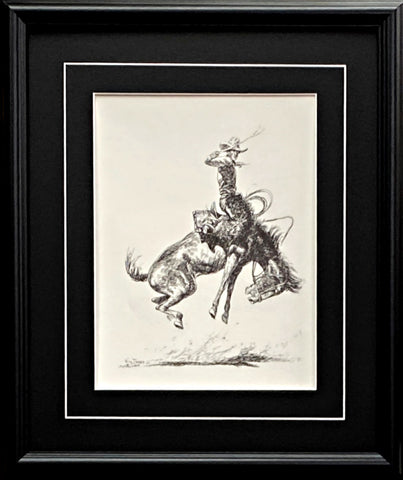 Will James Cowboy RIding Bronco Western Art Print-Framed 17 x 20