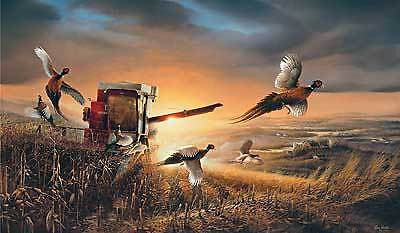 Terry Redlin Canvas Pheasants-EVENING SURPRISE