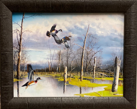 Jim Hansel Backwater Woodies Art Print-Framed 19 x 15