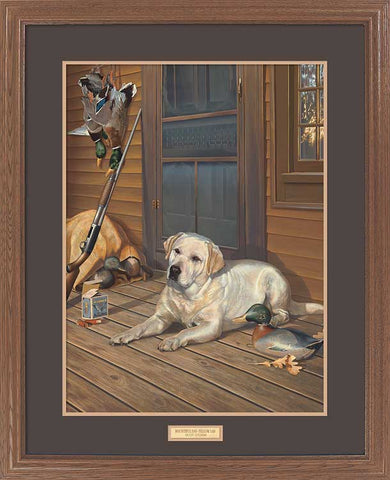 Scot Storm Bountiful Day Yellow Lab Hunting Art Print-Framed