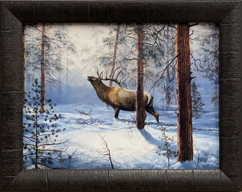 Jim Hansel Breaking the Silence Elk Art Print-Framed