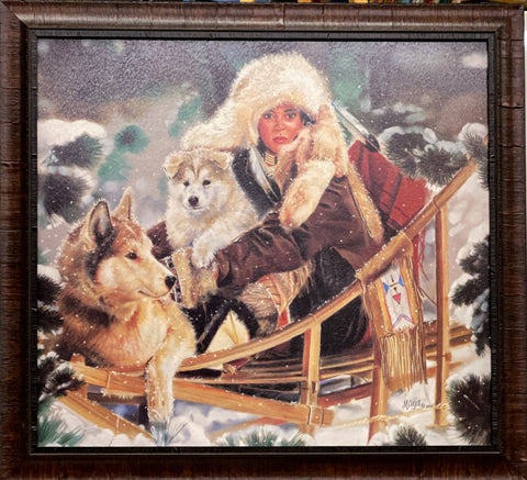 Maija Wilderness Run Dog Puppy Dog Sled Art Print-Framed 27.5 x 25.5